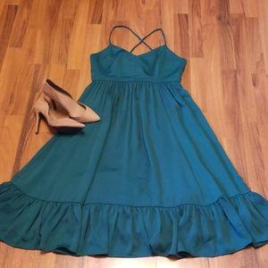 J. Crew Emerald Green Ruffled Midi Dress Size 10